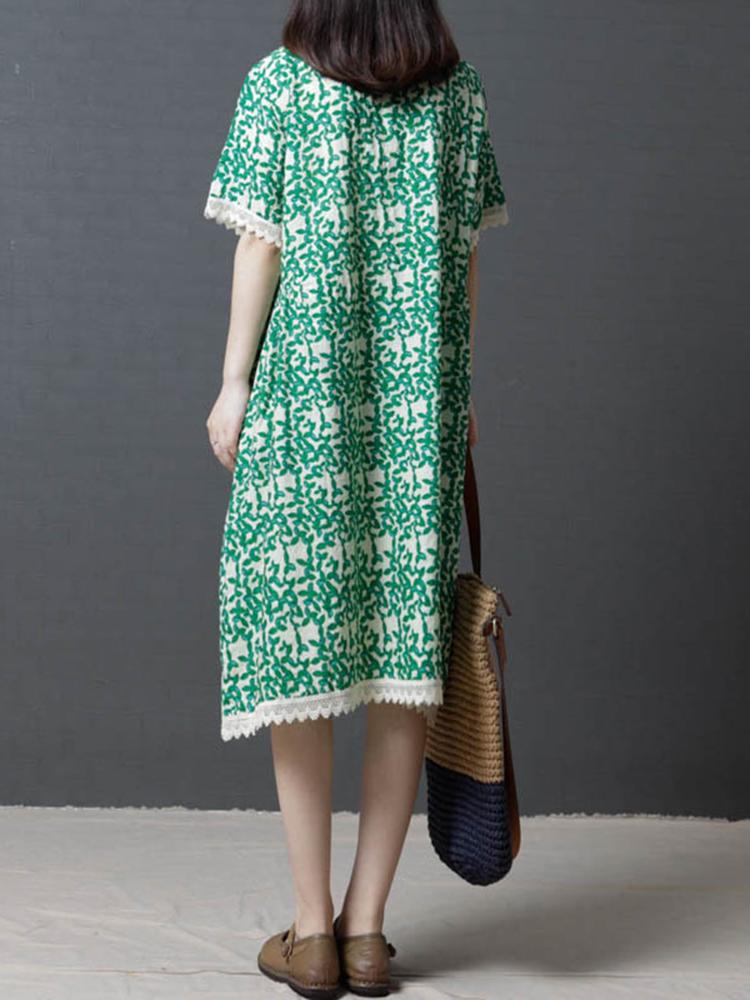 Vintage Floral Print O-neck Short Sleeve Dress