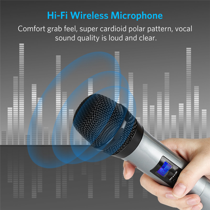 Archeer Portable bluetooth Wireless Microphone System VHF Dual HIFI Handheld Microphone