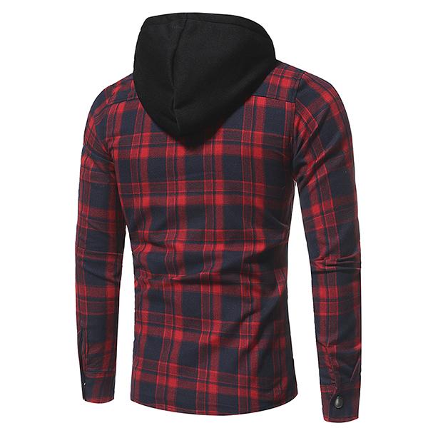 Plaid Shirt Jacket Chest Pocket Single Breasted Hooded Coat
