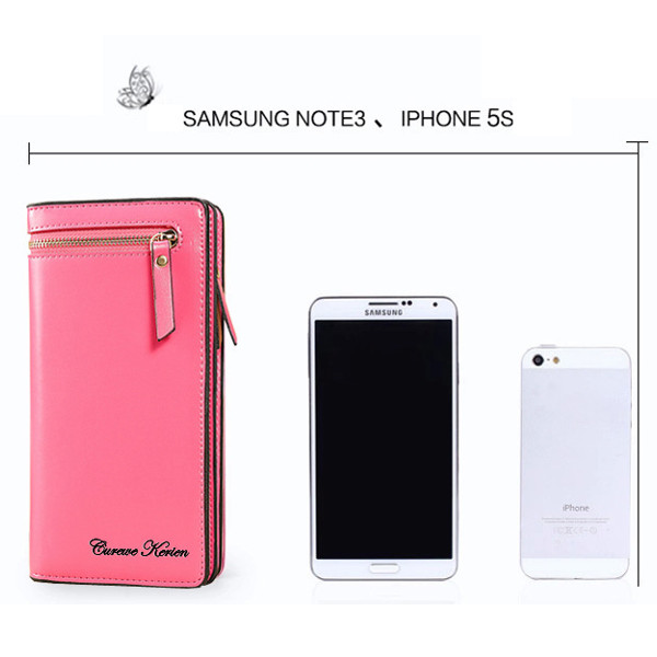 Women Zipper Long Wallets Candy Color Purse Card Holder Phone Case For Iphone Huawei Xiaomi Samsung