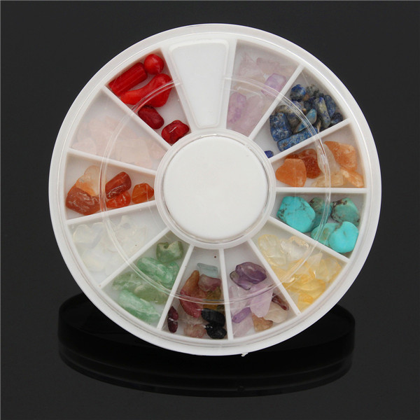 DIY Design Nail Art Decoration Wheel Natural Gem Crystal Stones Jade Gravel