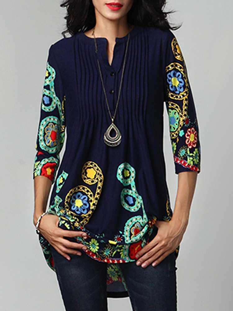 Women Casual O-neck Floral Print Pleated Blouse
