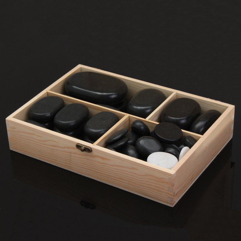 Black Basalt Hot Stone Full Body Massage Complete Comfortable Natural Bamboo Box