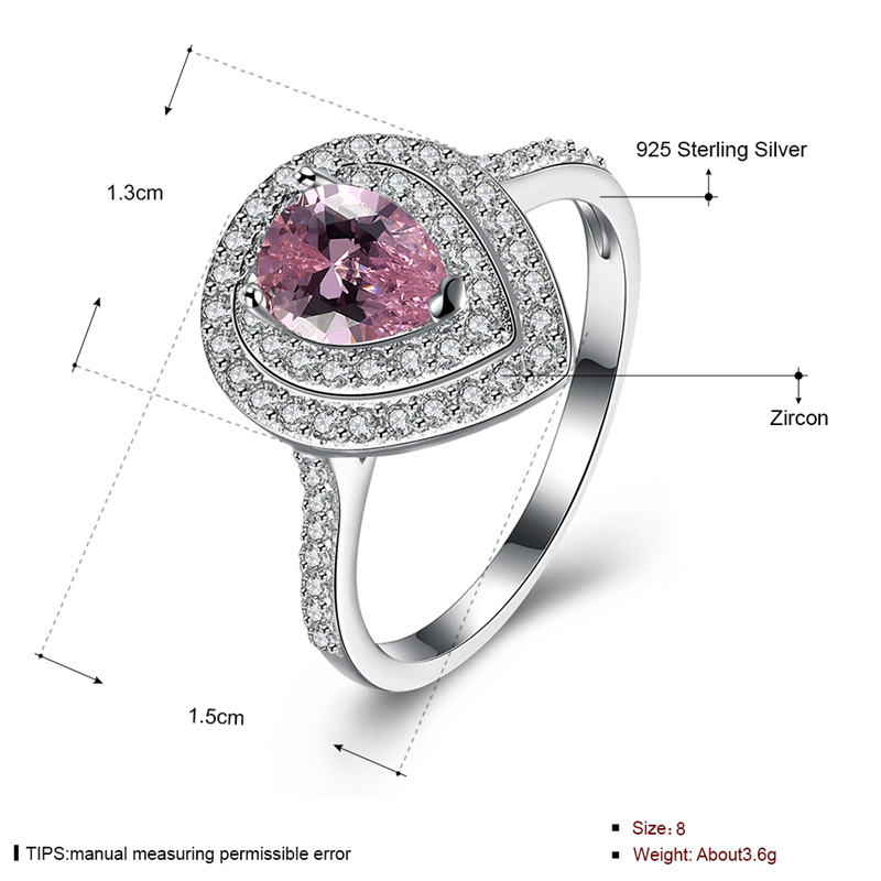 INALIS 925 Sterling Silver Luxury Women Ring Sweet Pink Gemstone Drop Shape Fine Anniversary Gift