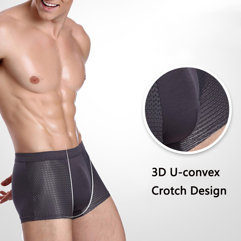 4 Pieces Ice Silk Mesh Breathable Soft Cool Men Boxer Briefs