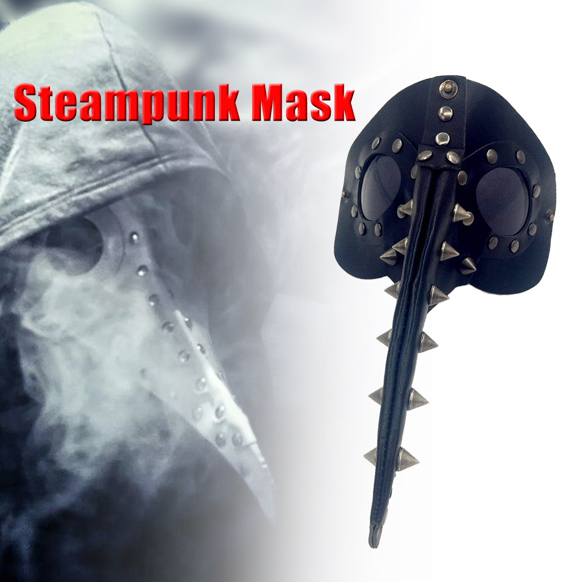 Steampunk Plague Doctor Mask Halloween Horror Face Fancy Dress Costume Leather