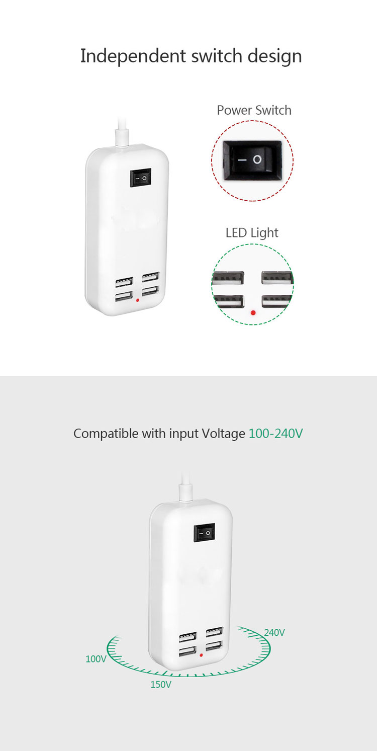 5V 3A 4 Ports USB Wall Charger AC Power Adapter 1.5M Cable ON / OFF Switch