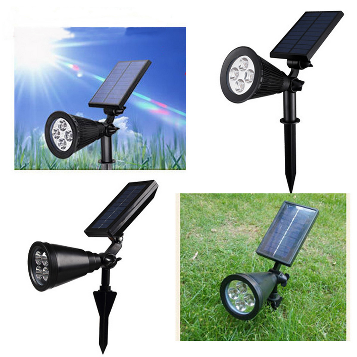 LED Waterproof Solar Powered Outdoor Garden Courtyard Security Flood Light Spot