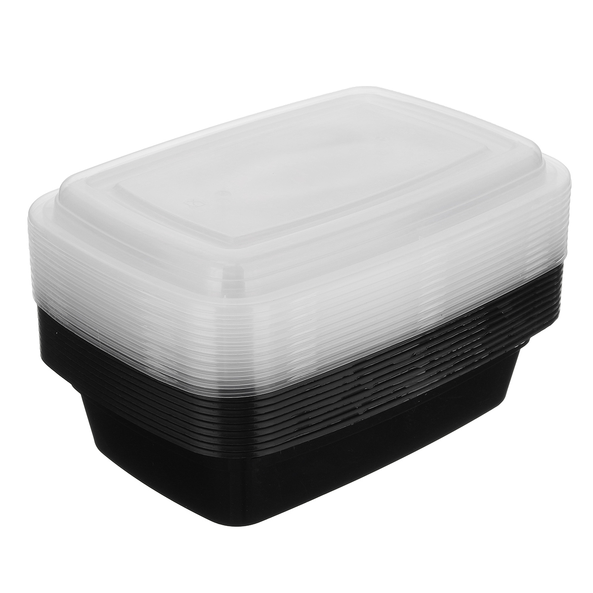 10Pcs 1000ml Bento Lunch Plastic Box Meal Prep Food Storage Box Container Lid Microwave Box