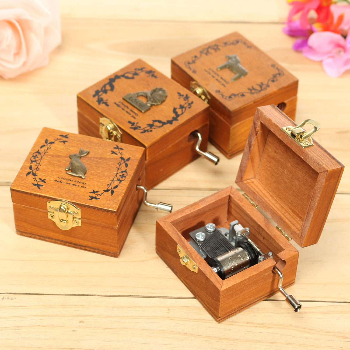 Mini Wooden Novelty Hand Crank DIY Slide Drawer Music Box Birthday Gift