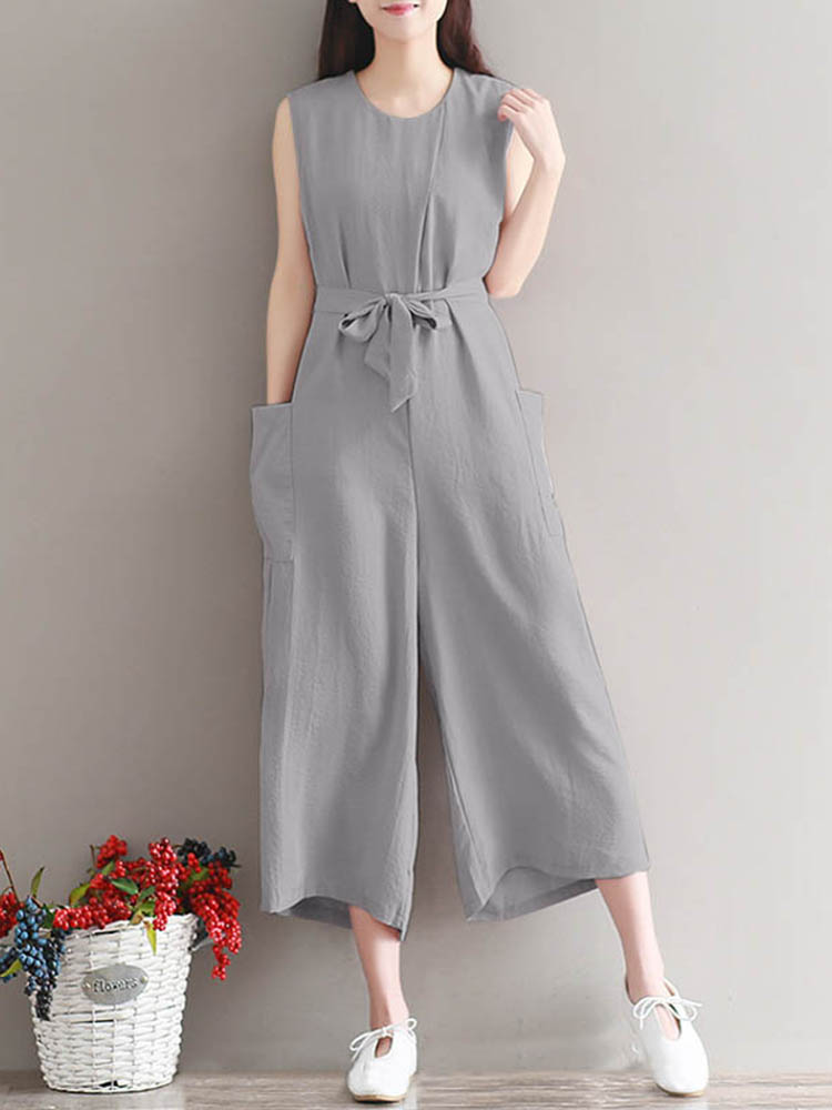Casual Women Sleeveless Pockets Solid Loose Jumpsuit