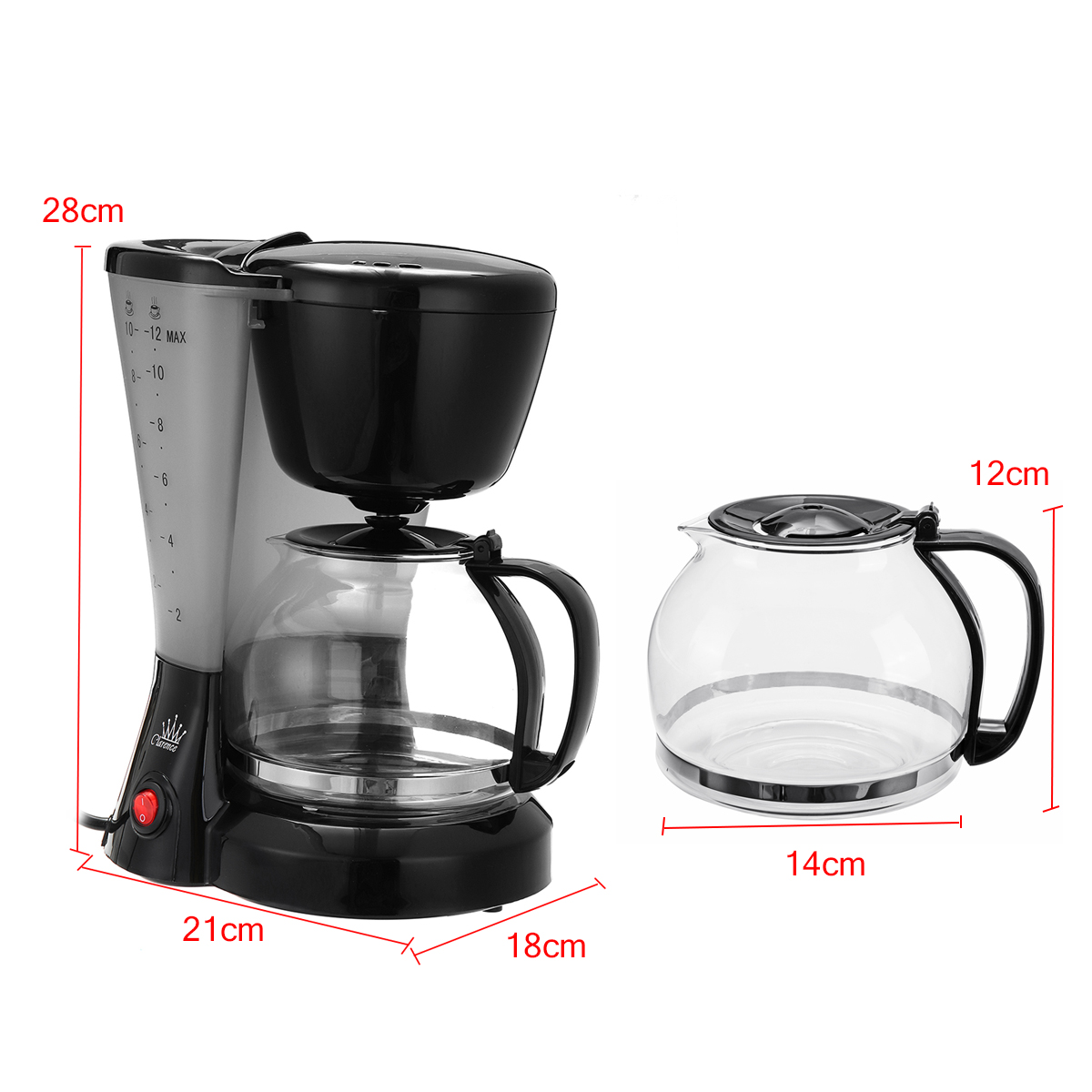 1.2L Electric Drip Coffee Tea Espresso Maker Automatic Filter Machine 10-12 Cups Coffee Machine