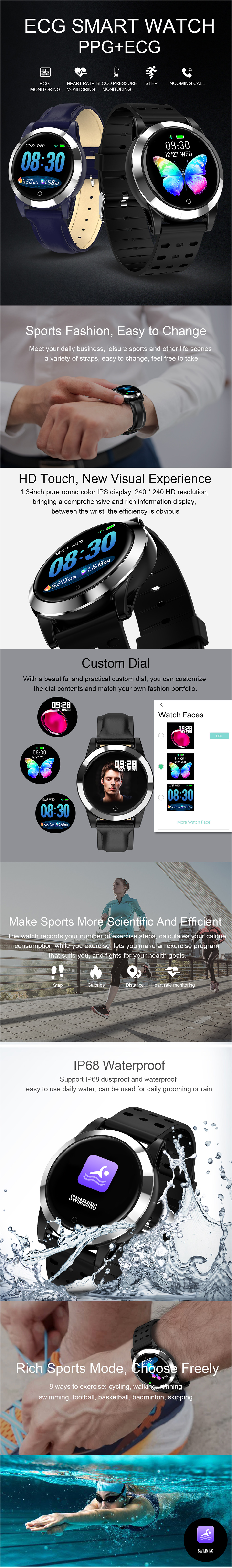 Bakeey R19 ECG+PPG 1.3inch HD Display IP68 Waterproof HR Blood Pressure Oxygen Monitor Sport Smart Watch