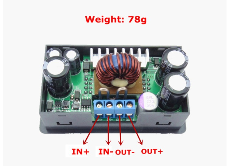 RUIDENG DP50V5A Buck Adjustable DC Power Supply Module With Integrated Voltmeter Ammeter Color Display