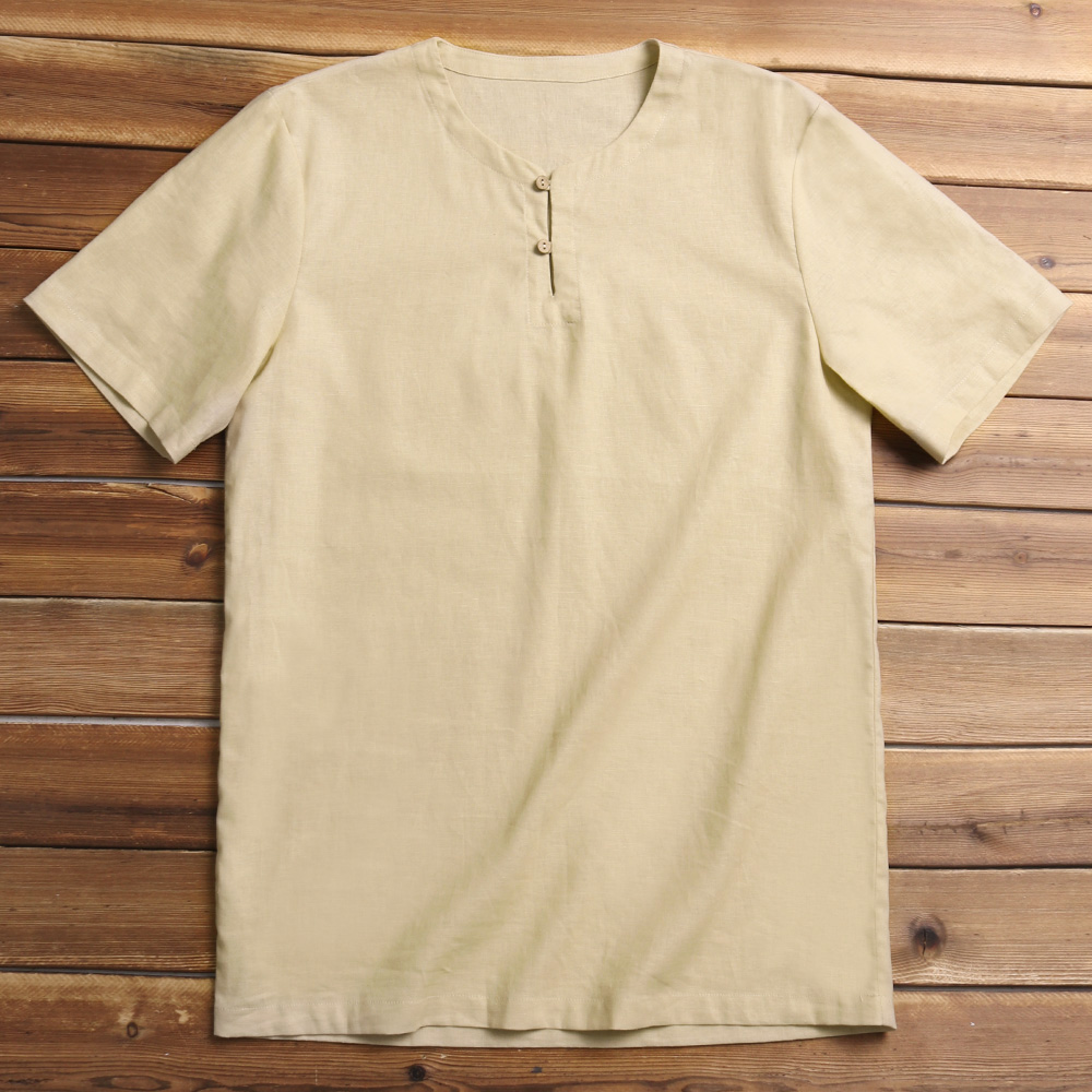 Charmkpr Mens Chinese Style Cotton Linen Loose T-Shirts