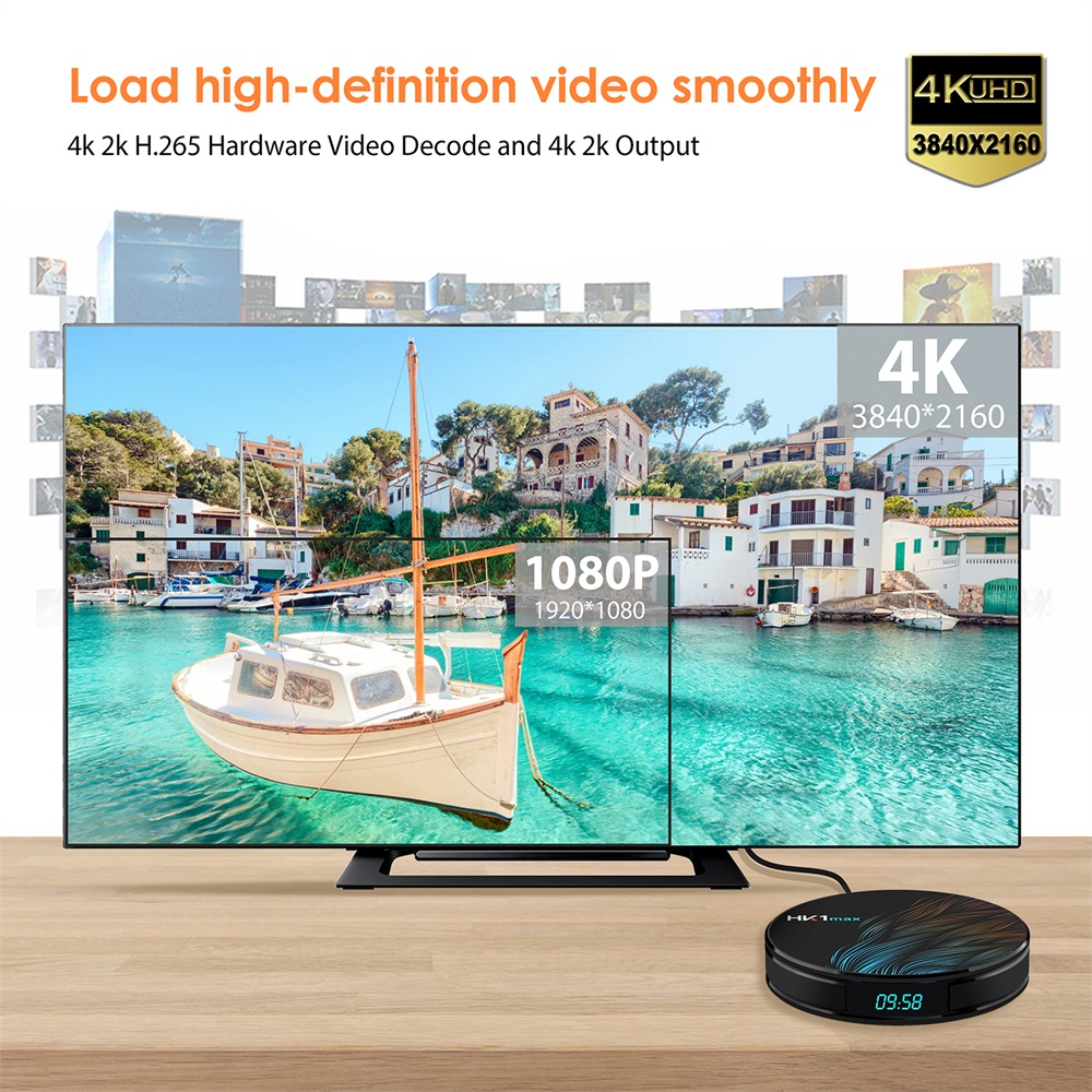 HK1 Max RK3328 4GB 64GB Android 9.0 5G WIFI bluetooth 4.0 4K VP9 H.265 HDR10 TV Box with Time Display
