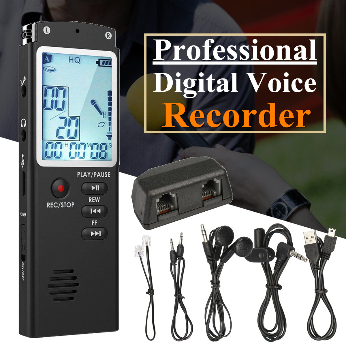 8GB 16GB Rechargeable USB Digital Audio Voice Recorder Dictaphone MP3 Player