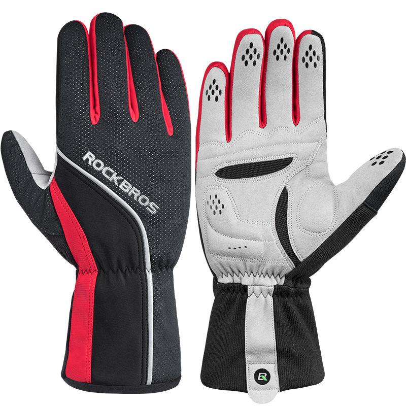 ROCKBROS Велоспорт перчатки сенсорный экран ветрозащитный Водонепроницаемы Полный длинный палец Перчатки Зимний флис тепловой