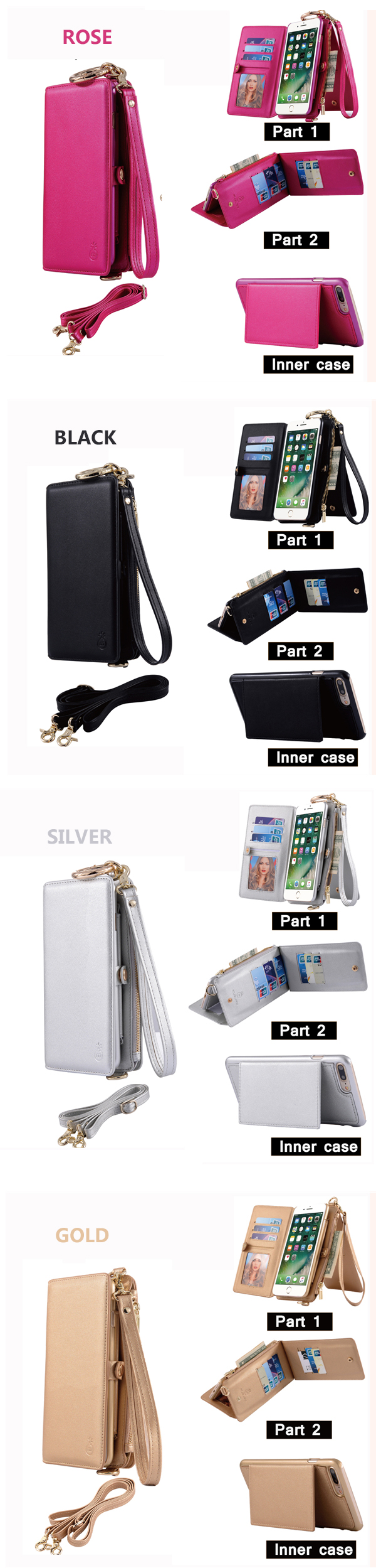 Genuine Leather Multifunctional iPhone6/6s/6 plus/6s plus Phone Case Wallet Card Holder Phone Bag