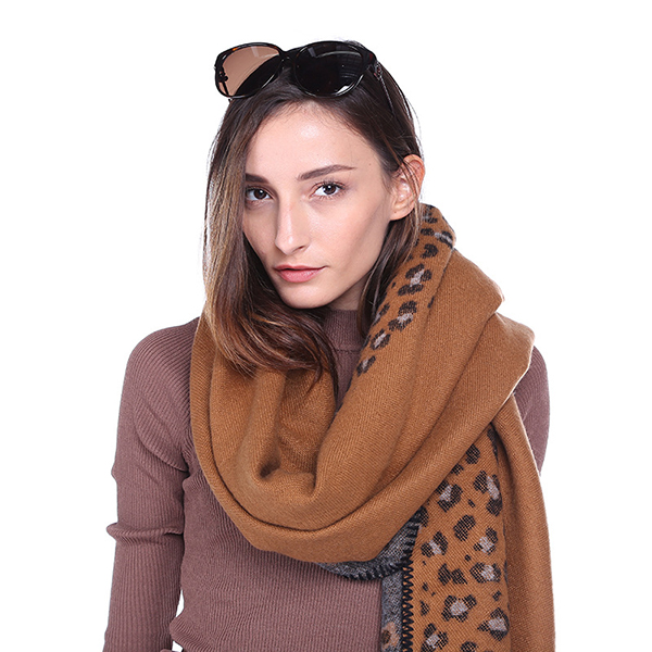 Women Printing Winter Warm Scarf Casual Leopard Pattern Blanket Scarf Shawl