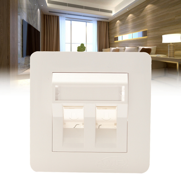ABS Plastic CAT6 Double Ports RJ45 Wall Outlet Network LAN Socket Panel