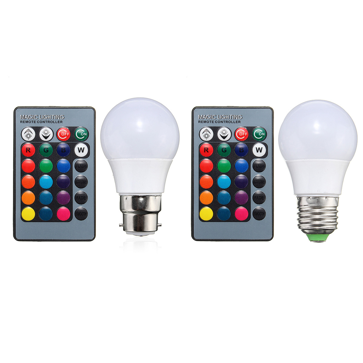 3W E27/B22 Dimmable RGB LED Light Color Changing Lamp Bulb + 24 Key Remote AC 85-265V