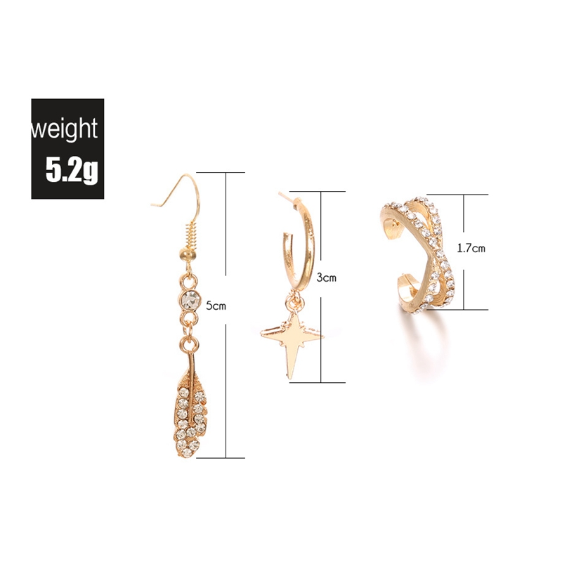 Bohemian Gold Alloy 3 Pieces Earring Set