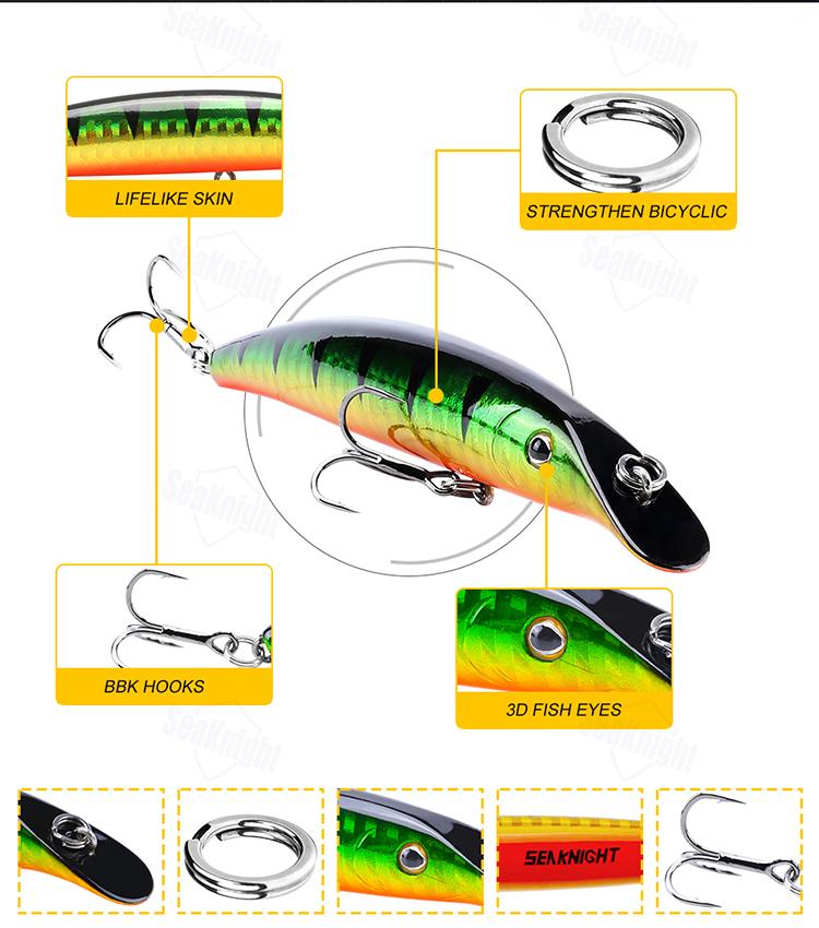 SeaKnight SK024 1PC 9g 98mm 0-1m Depth Fishing Lure Minnow BKK Hooks Fishing Hard Bait