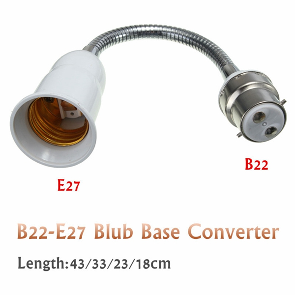 B22 To E27 Light Bulb Lamp Adapter Holder Flexible Socket Extension Converter