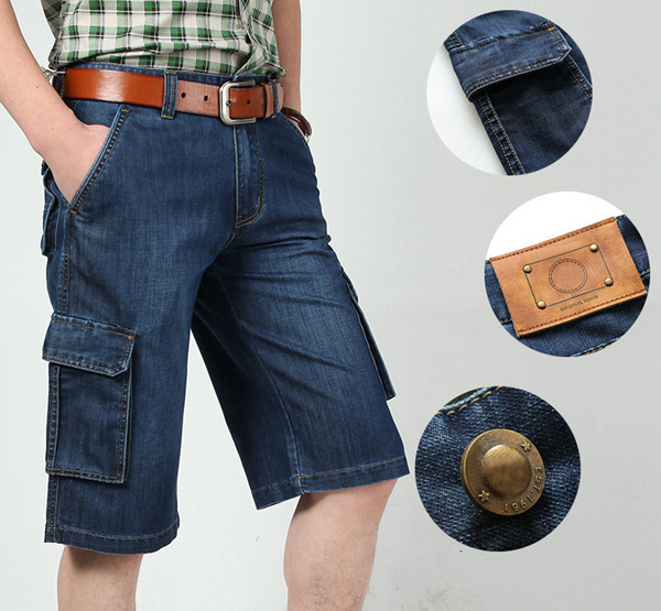 Summer Loose Light Weight Thin Soft Straight Leg Big Multi Pocket Short Men Cargo Jeans