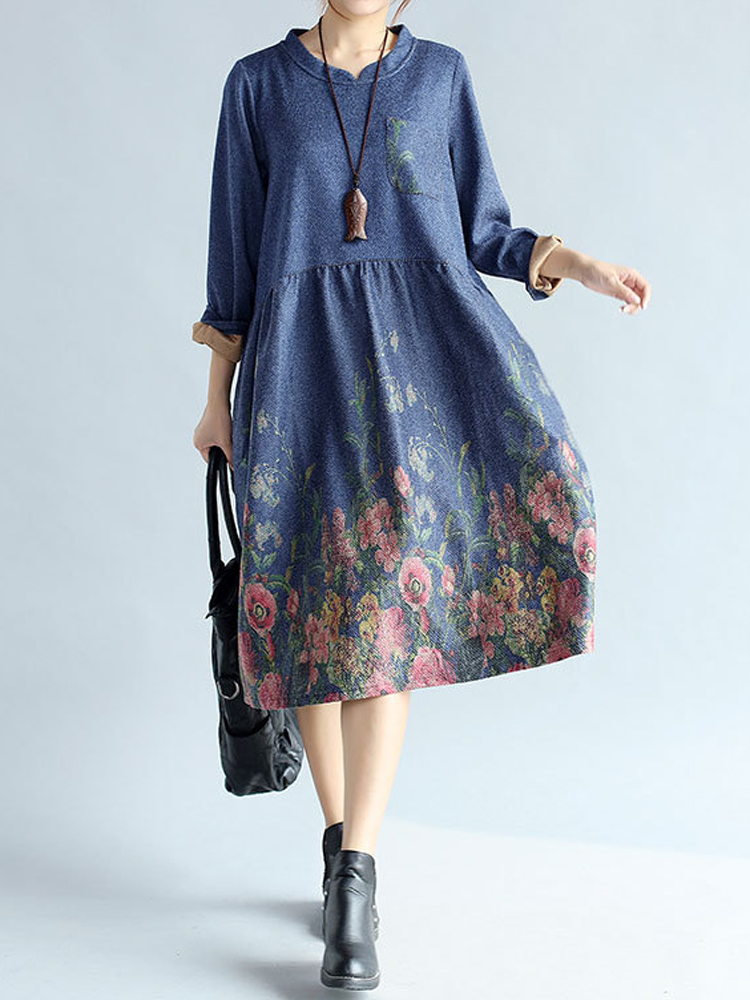 Vintage Floral Printing Long Sleeve Thick Loose Women Dress