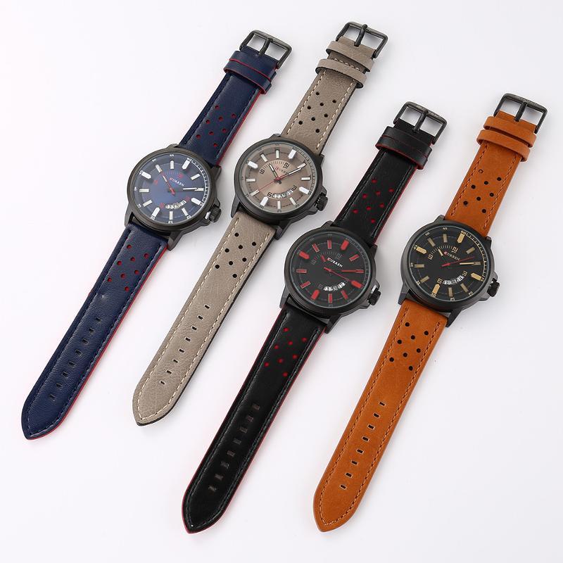 CURREN 8228 Fashion Date Display Leather Men Quartz Watch