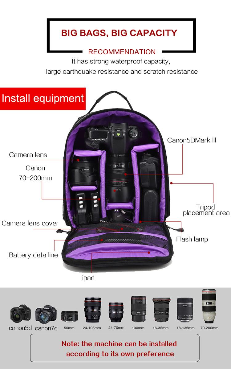 HUWANG 8015 Multi-functional Waterproof 15.6inch Laptop DSLR Camera Bag Video Case Padded Backpack