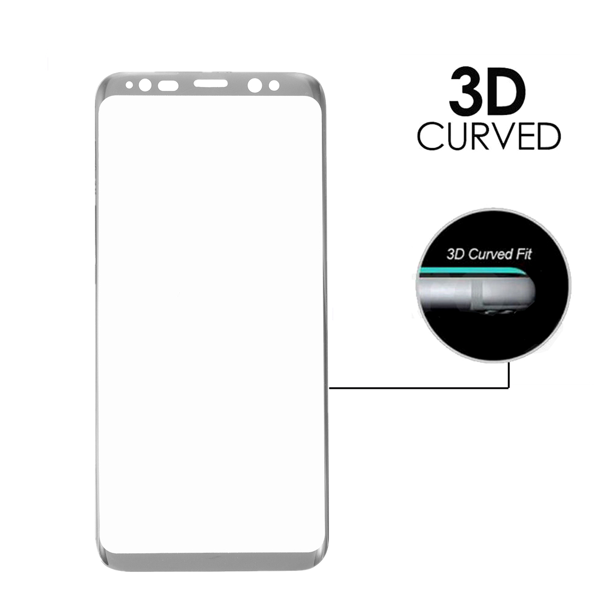 3D Arc Edge 0.26mm Tempered Glass Silk Screen Rim Screen Protector for Samsung Galaxy S8 & S8 Plus