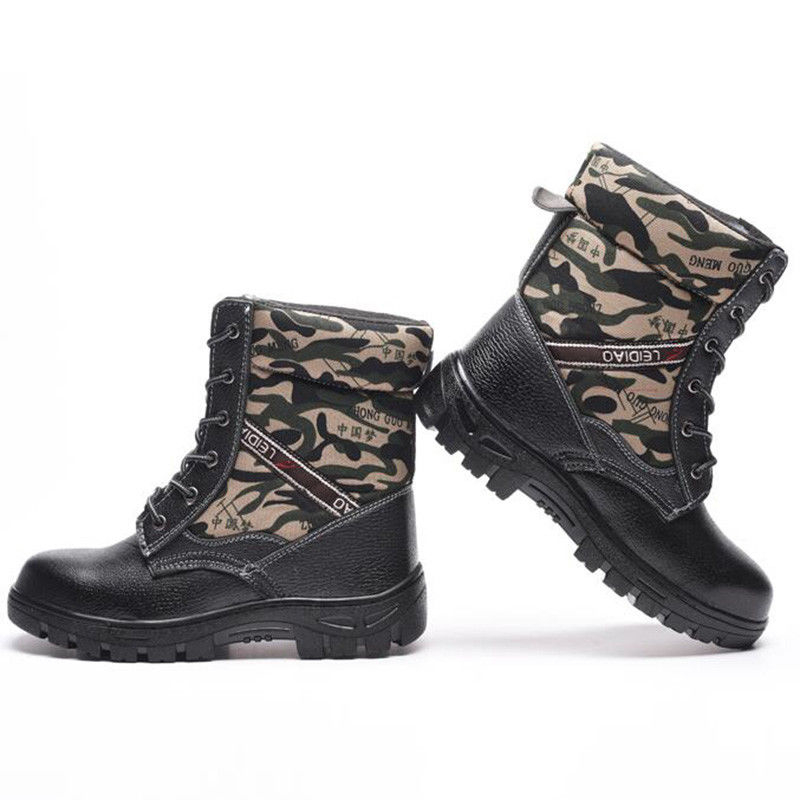 TENGOO Winter Mens Camouflage Steel toe Fur Lined work Ankle boots Labor Safety Shoes Work Shoes Waterproof