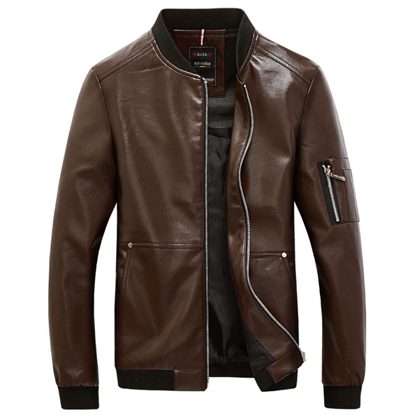 Motorcycle PU Leather Jacket Winter Stand Collar Brief Cool Men Coat