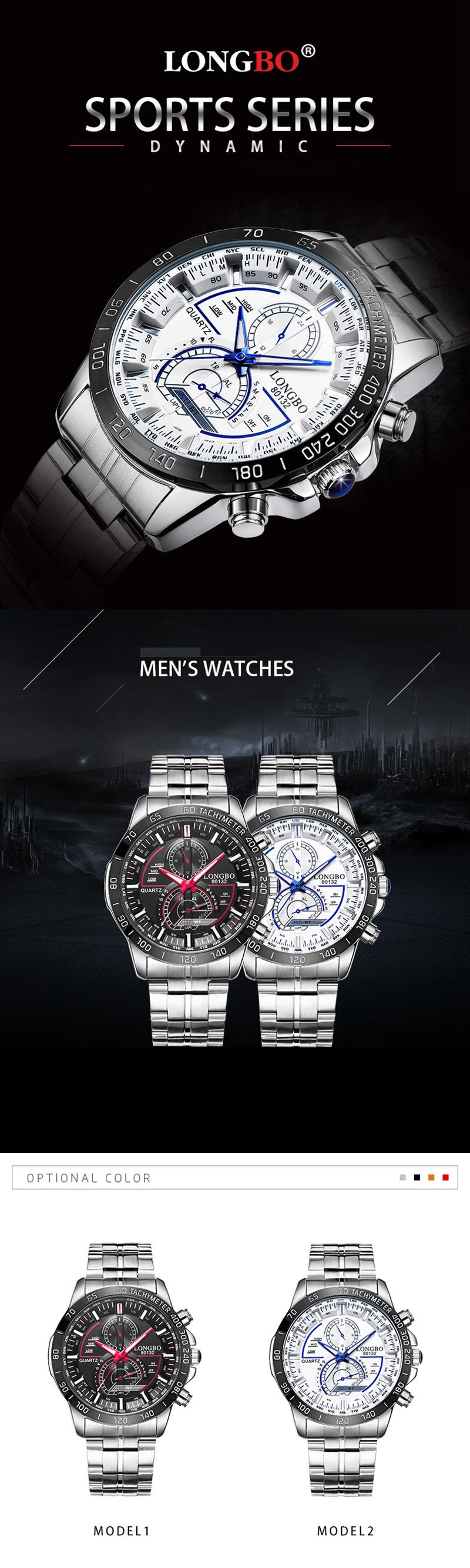Купить LONGBO 80132 Светлые мужские часы Мода Дата Дисплей Нержавеющая сталь Кварцевые наручные часы