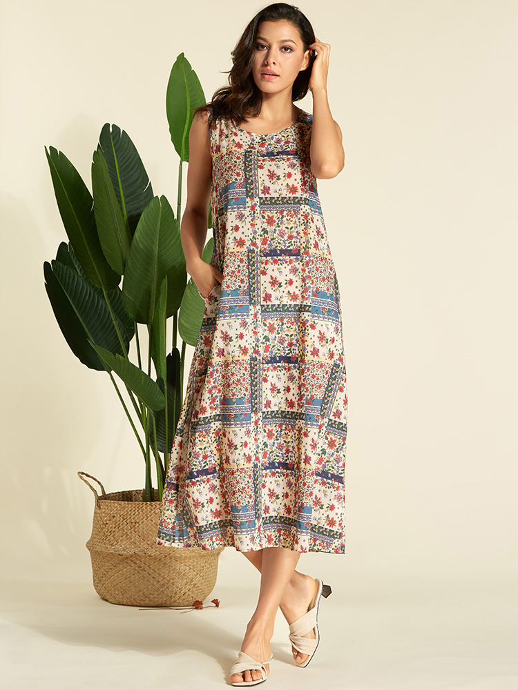 Women Floral Print O-neck Sleeveless Maxi Dress