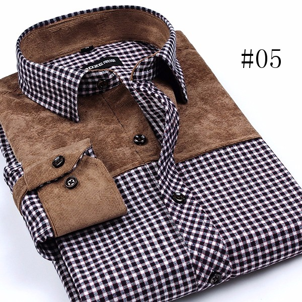 Mens Fashion Autumn Plaid Grid Printing Stitching Turn-down Collar Casual Spring Dress Shirt