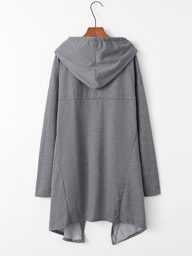Plus Size Women Casual Asymmetrical Hem Hooded Sweatshirt