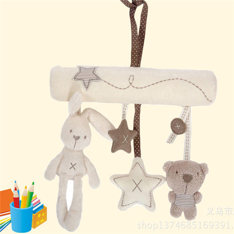 Musical Plush Crib Stroller Baby Pram Rattle Hanging Rabbit Star Toy Animal POP