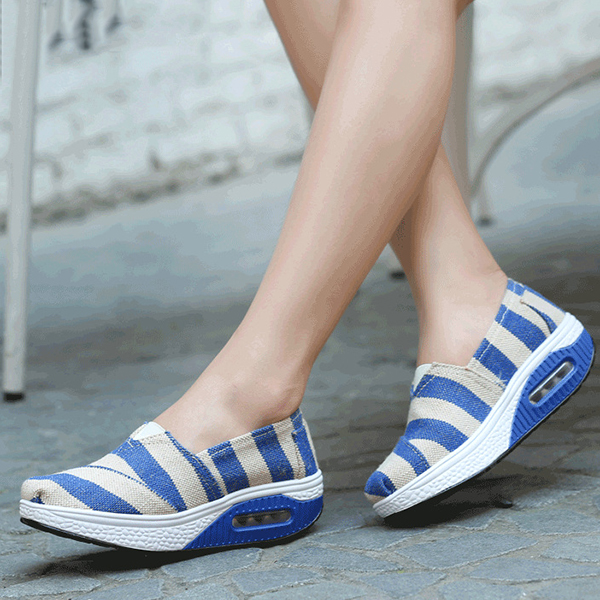 Casual Flat Shoes Canvas For Women Sport Ourddor Rocker Sole Shoes