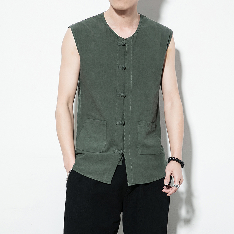 Mens Vintage Chinese Style Tank Tops Cotton Sleeveless Vest