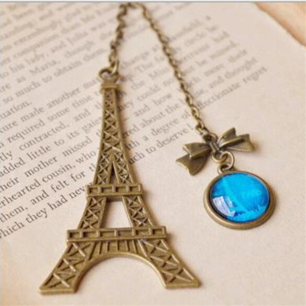 Bronze Metal Eiffel Tower Shape Bookmarks with Vintage Blue Glass Pendant Bookmarks for Book Favors Gifts