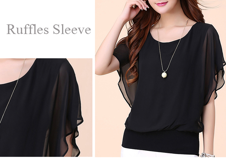 Casual Ruffles Sleeve Solid Color Chiffon Women T-Shirt