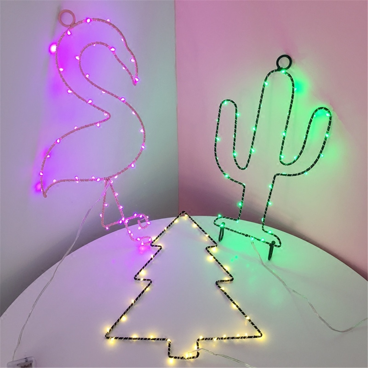 Battery Powered Iron Star Christmas Tree Flamingo Copper Wire Fairy String Light