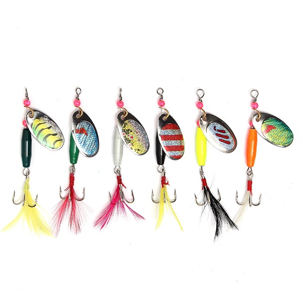 6pcs Spoon Metal Fishing Lures Crankbaits Bass Tackle Hooks Set Spinner Baits