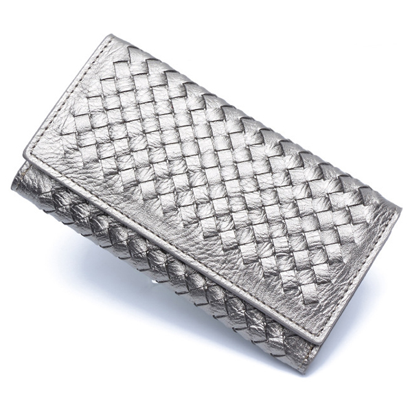 Women Hasp Long Woven Wallet Girls Two Fold Purse Card Holder Coin Bags