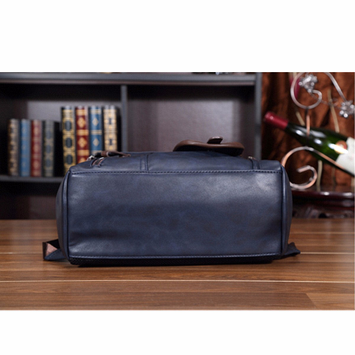Men's Laptop Backpack PU Leather Fashion Vintage Travel Men Bag