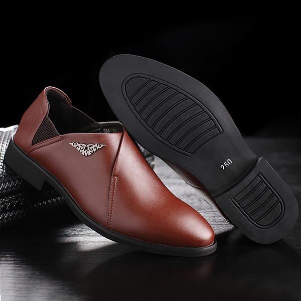 Men Comfy Soft Elastic Band Business Leather Slip On Formal Shoes
